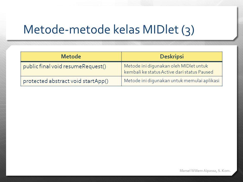 Metode-metode kelas MIDlet (3) MetodeDeskripsi public final void resumeRequest() Metode ini digunakan oleh MIDlet untuk kembali ke status Active dari