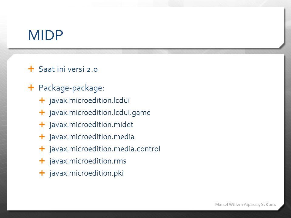 MIDP  Saat ini versi 2.0  Package-package:  javax.microedition.lcdui  javax.microedition.lcdui.game  javax.microedition.midet  javax.microeditio