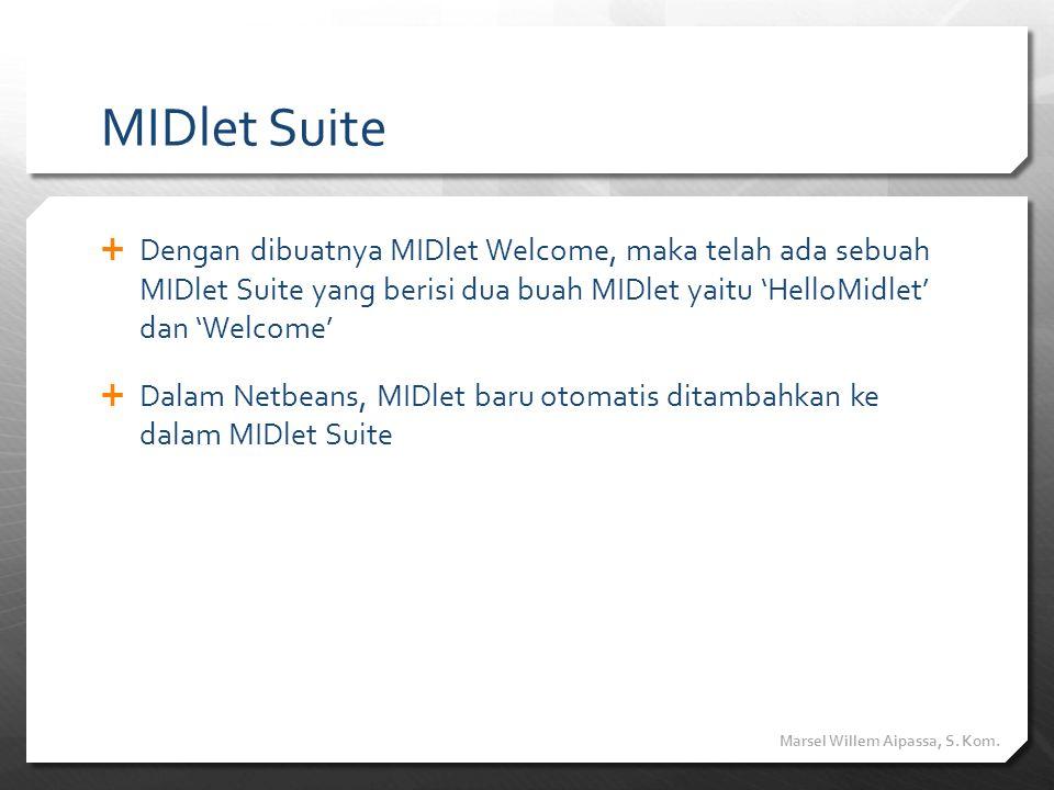 MIDlet Suite  Dengan dibuatnya MIDlet Welcome, maka telah ada sebuah MIDlet Suite yang berisi dua buah MIDlet yaitu 'HelloMidlet' dan 'Welcome'  Dal