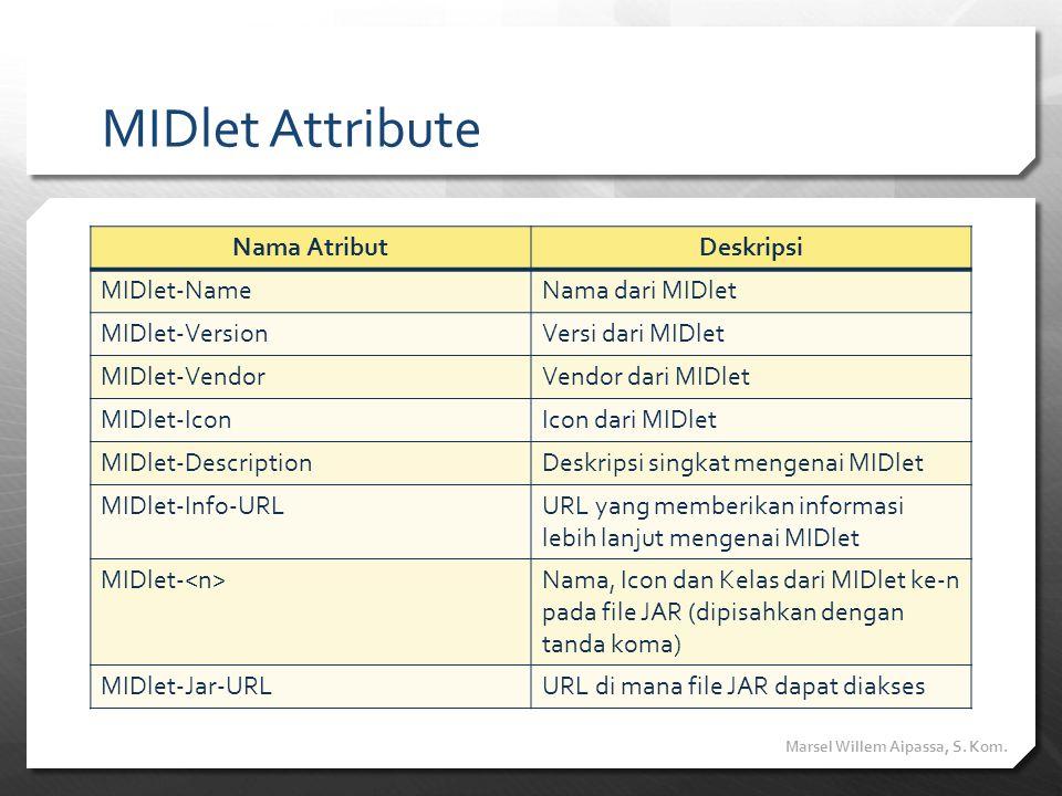 MIDlet Attribute Nama AtributDeskripsi MIDlet-NameNama dari MIDlet MIDlet-VersionVersi dari MIDlet MIDlet-VendorVendor dari MIDlet MIDlet-IconIcon dar