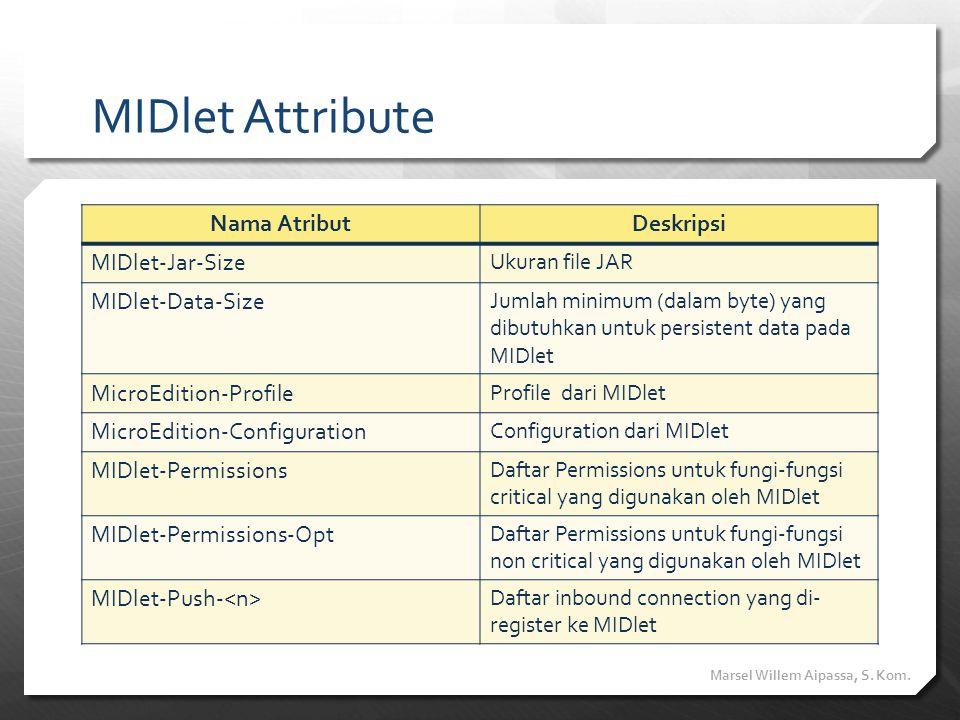 MIDlet Attribute Nama AtributDeskripsi MIDlet-Jar-Size Ukuran file JAR MIDlet-Data-Size Jumlah minimum (dalam byte) yang dibutuhkan untuk persistent d