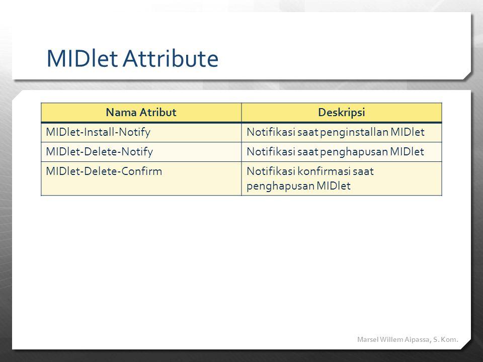 MIDlet Attribute Nama AtributDeskripsi MIDlet-Install-NotifyNotifikasi saat penginstallan MIDlet MIDlet-Delete-NotifyNotifikasi saat penghapusan MIDle