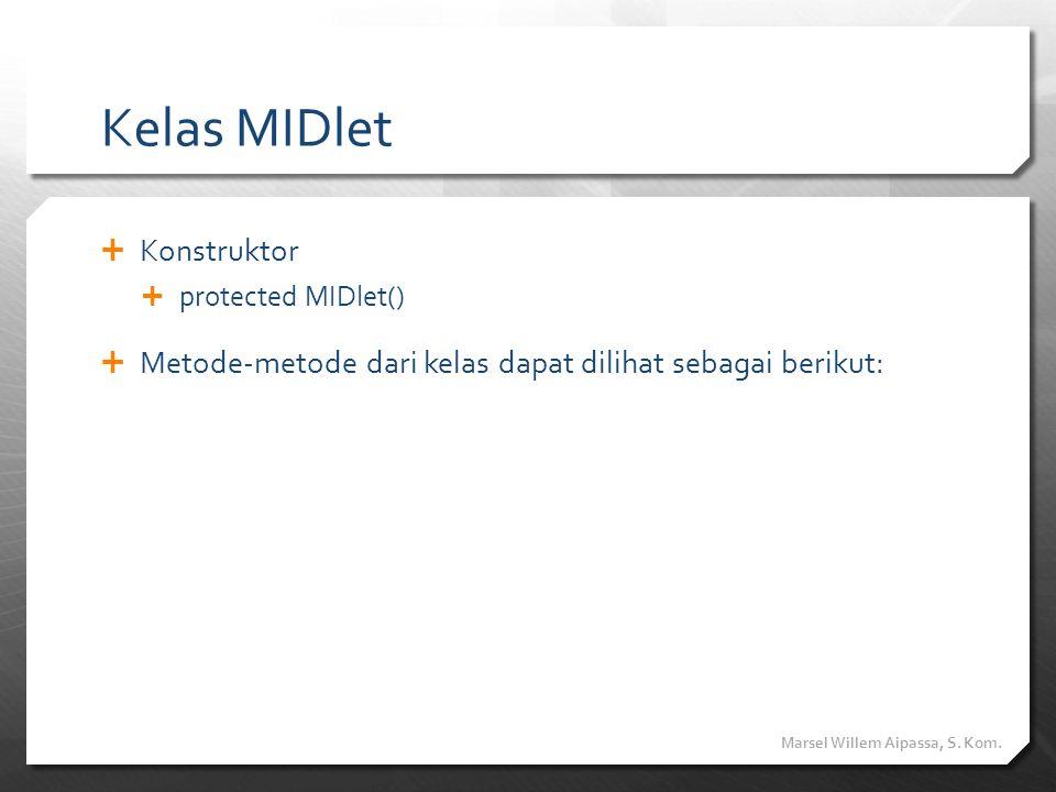 Kelas MIDlet  Konstruktor  protected MIDlet()  Metode-metode dari kelas dapat dilihat sebagai berikut: Marsel Willem Aipassa, S. Kom.