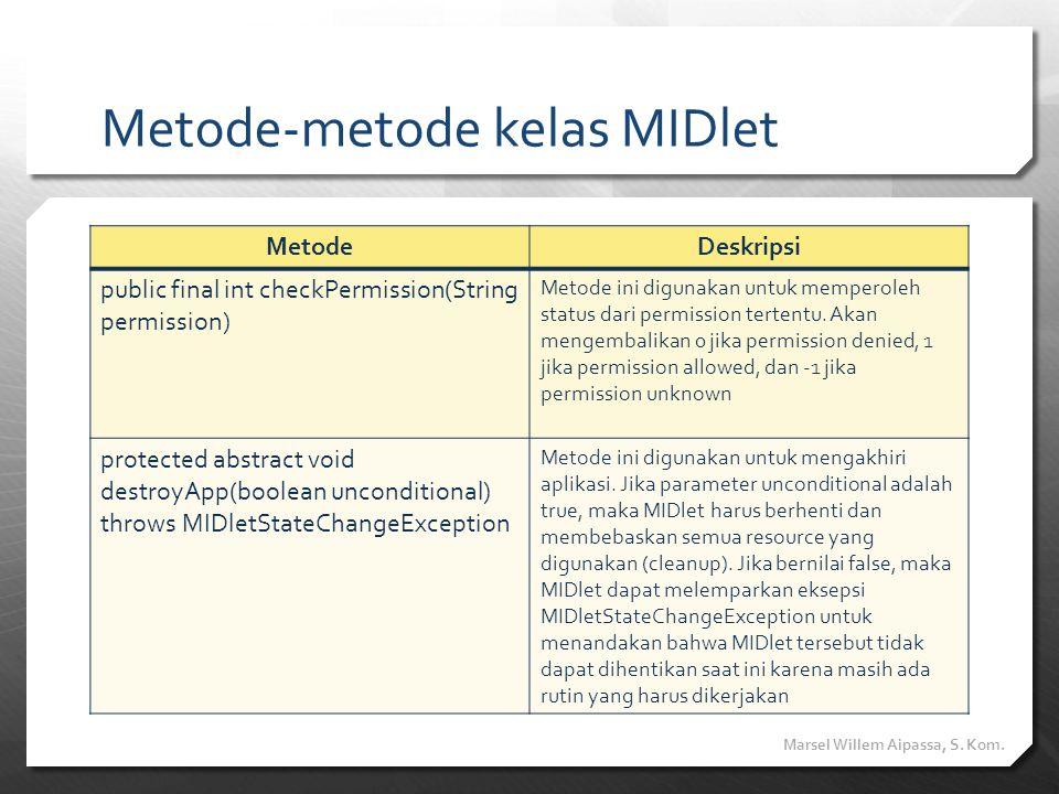 Metode-metode kelas MIDlet MetodeDeskripsi public final int checkPermission(String permission) Metode ini digunakan untuk memperoleh status dari permi