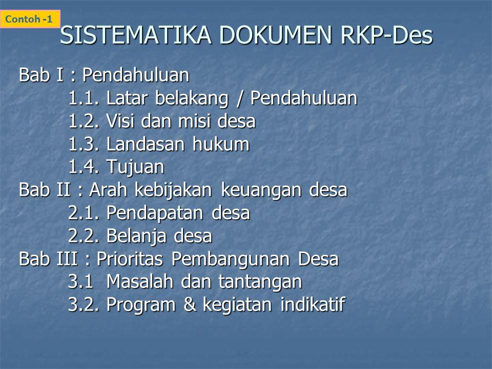 SISTEMATIKA DOKUMEN RKP-Des Bab I : Pendahuluan 1.1. Latar belakang / Pendahuluan 1.2. Visi dan misi desa 1.3. Landasan hukum 1.4. Tujuan Bab II : Ara