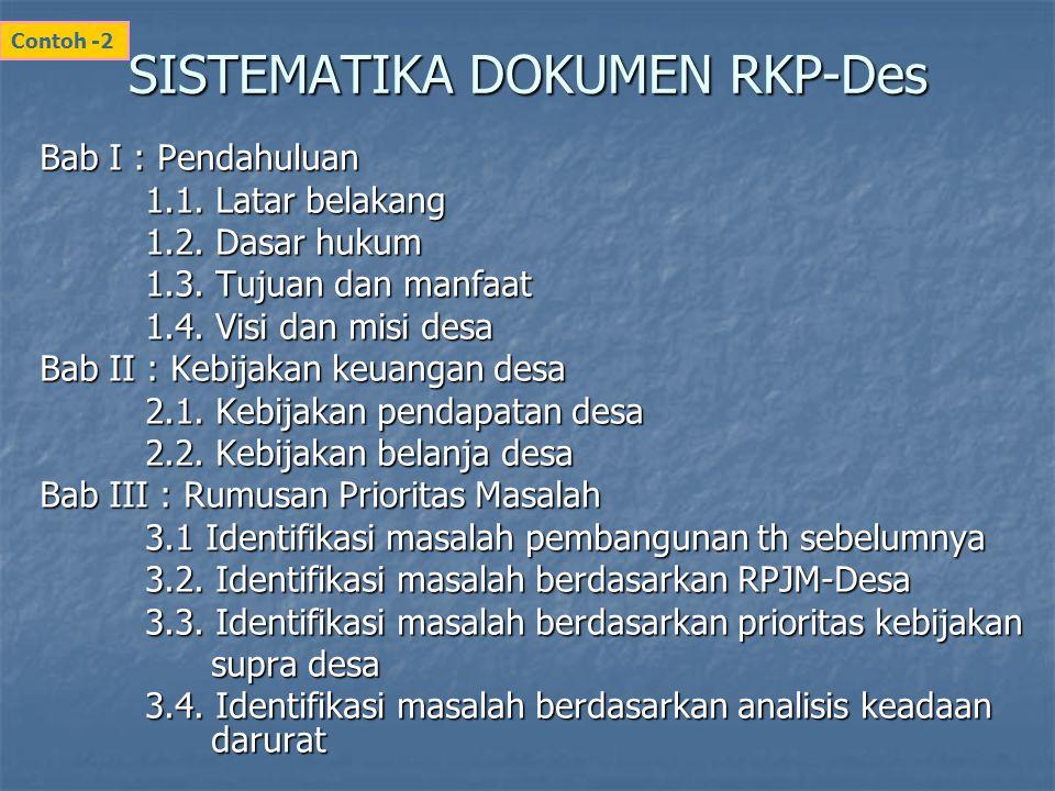 SISTEMATIKA DOKUMEN RKP-Des Bab I : Pendahuluan 1.1. Latar belakang 1.2. Dasar hukum 1.3. Tujuan dan manfaat 1.4. Visi dan misi desa Bab II : Kebijaka