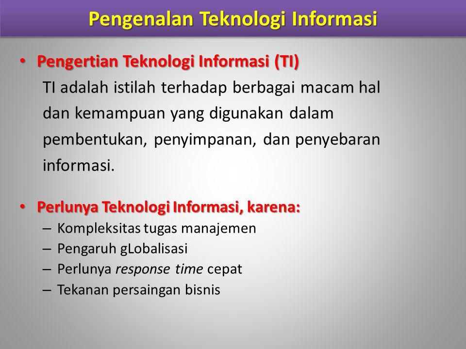 Pengenalan Teknologi Informasi (cont.) Infrastruktur Informasi Perangkat Keras (Hardware) Perangkat Lunak (Software) Jaringan dan Komunikasi Basis Data (Database) Information Management Personel Arsitektur Informasi – Perencanaan terhadap kebutuhan informasi