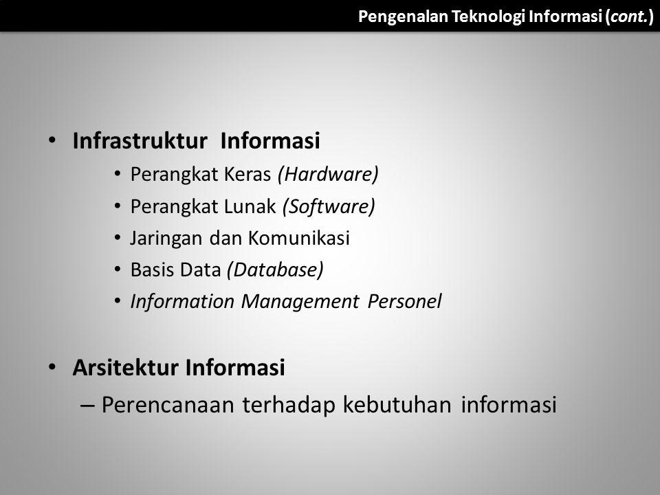 Pengenalan Teknologi Informasi (cont.) Infrastruktur Informasi Perangkat Keras (Hardware) Perangkat Lunak (Software) Jaringan dan Komunikasi Basis Dat