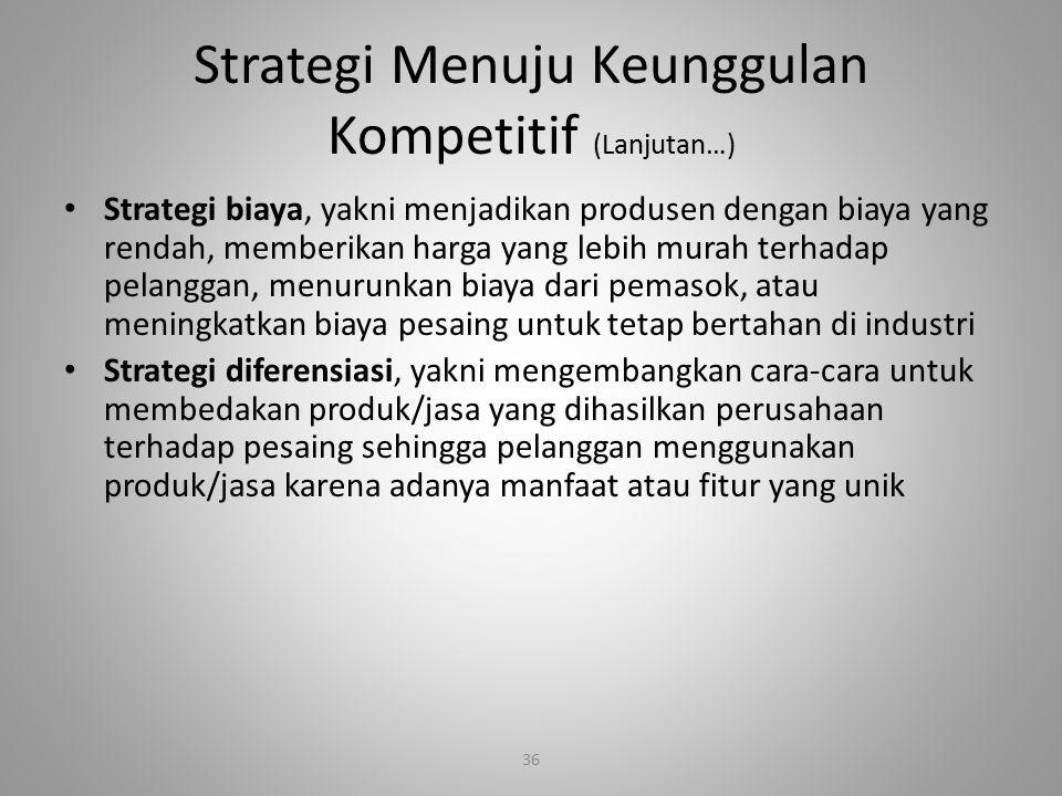 36 Strategi Menuju Keunggulan Kompetitif (Lanjutan…) Strategi biaya, yakni menjadikan produsen dengan biaya yang rendah, memberikan harga yang lebih m
