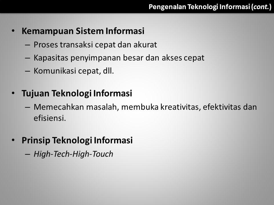 Kemampuan Sistem Informasi – Proses transaksi cepat dan akurat – Kapasitas penyimpanan besar dan akses cepat – Komunikasi cepat, dll. Tujuan Teknologi