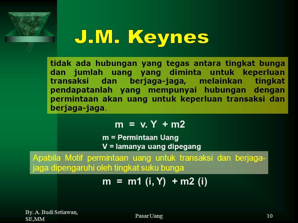 By. A. Budi Setiawan, SE,MM Pasar Uang10 tidak ada hubungan yang tegas antara tingkat bunga dan jumlah uang yang diminta untuk keperluan transaksi dan