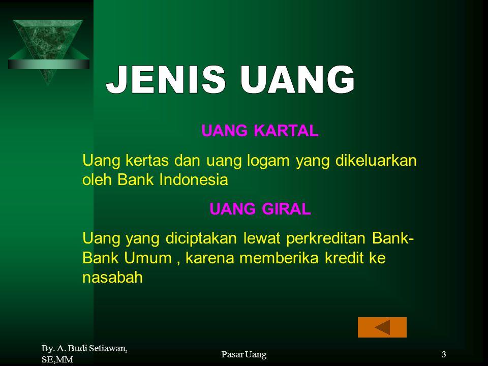 By. A. Budi Setiawan, SE,MM Pasar Uang3 UANG KARTAL Uang kertas dan uang logam yang dikeluarkan oleh Bank Indonesia UANG GIRAL Uang yang diciptakan le