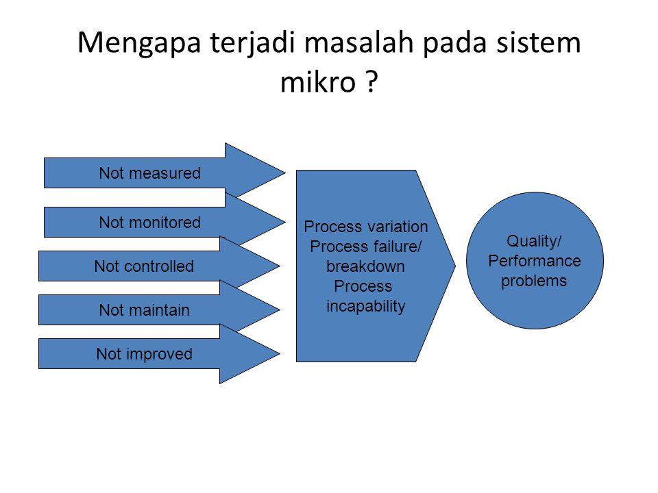 Pilih satu masalah mutu Lakukan analisis penyebab terjadinya masalah mutu – Penyebab pada proses – Penyebab pada struktur (sumber daya) dan sistem pendukung (perhatikan rantai nilai dari Porter)