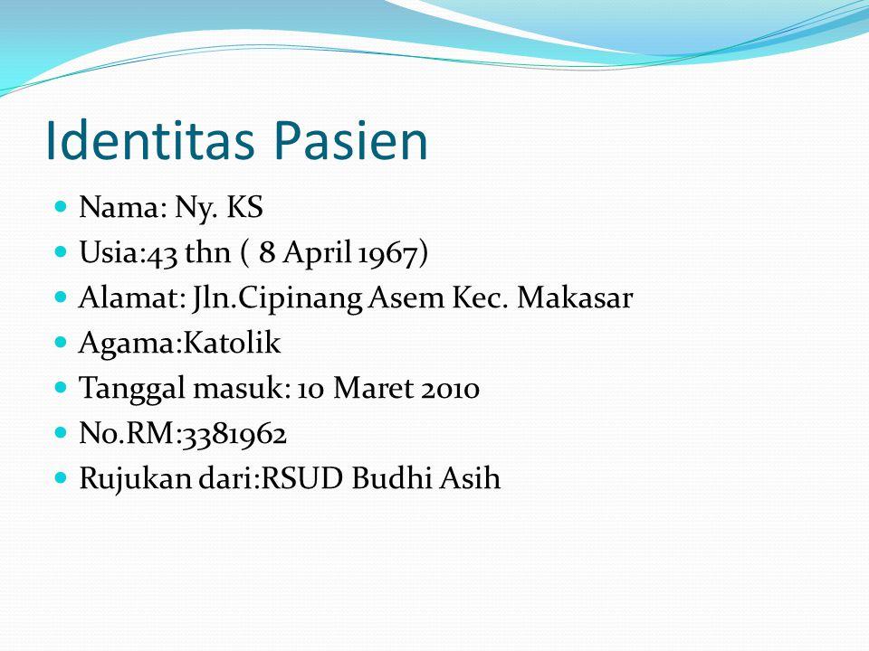 Identitas Pasien Nama: Ny. KS Usia:43 thn ( 8 April 1967) Alamat: Jln.Cipinang Asem Kec. Makasar Agama:Katolik Tanggal masuk: 10 Maret 2010 No.RM:3381