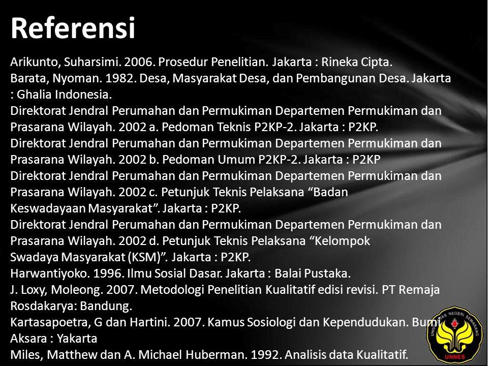 Referensi Arikunto, Suharsimi. 2006. Prosedur Penelitian. Jakarta : Rineka Cipta. Barata, Nyoman. 1982. Desa, Masyarakat Desa, dan Pembangunan Desa. J