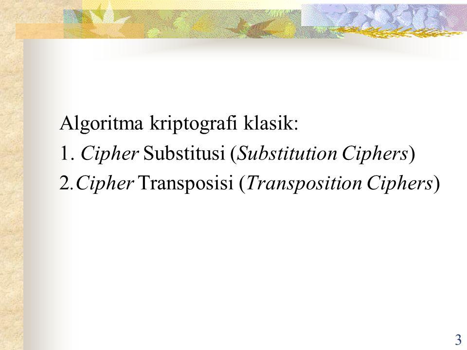 3 Algoritma kriptografi klasik: 1.