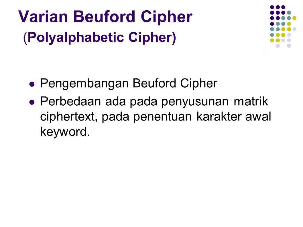 Varian Beuford Cipher (Polyalphabetic Cipher) Pengembangan Beuford Cipher Perbedaan ada pada penyusunan matrik ciphertext, pada penentuan karakter awa