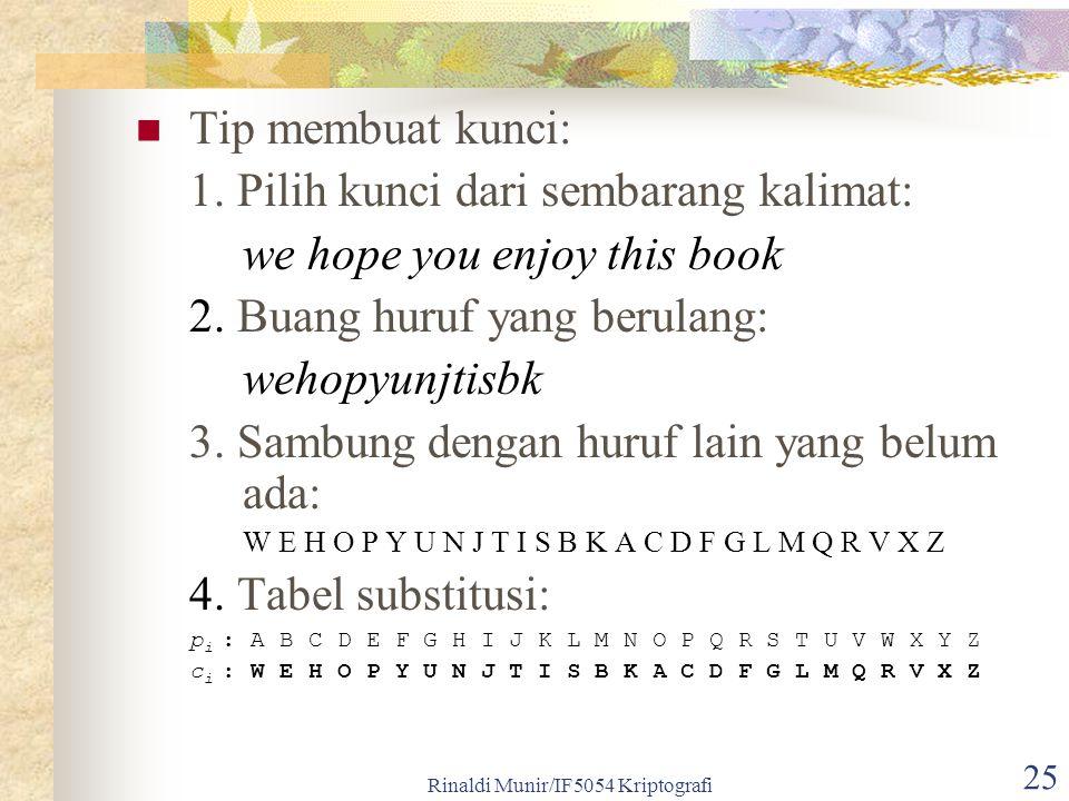 Rinaldi Munir/IF5054 Kriptografi 25 Tip membuat kunci: 1. Pilih kunci dari sembarang kalimat: we hope you enjoy this book 2. Buang huruf yang berulang