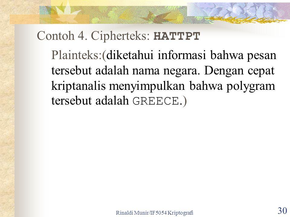Rinaldi Munir/IF5054 Kriptografi 30 Contoh 4. Cipherteks: HATTPT Plainteks:(diketahui informasi bahwa pesan tersebut adalah nama negara. Dengan cepat