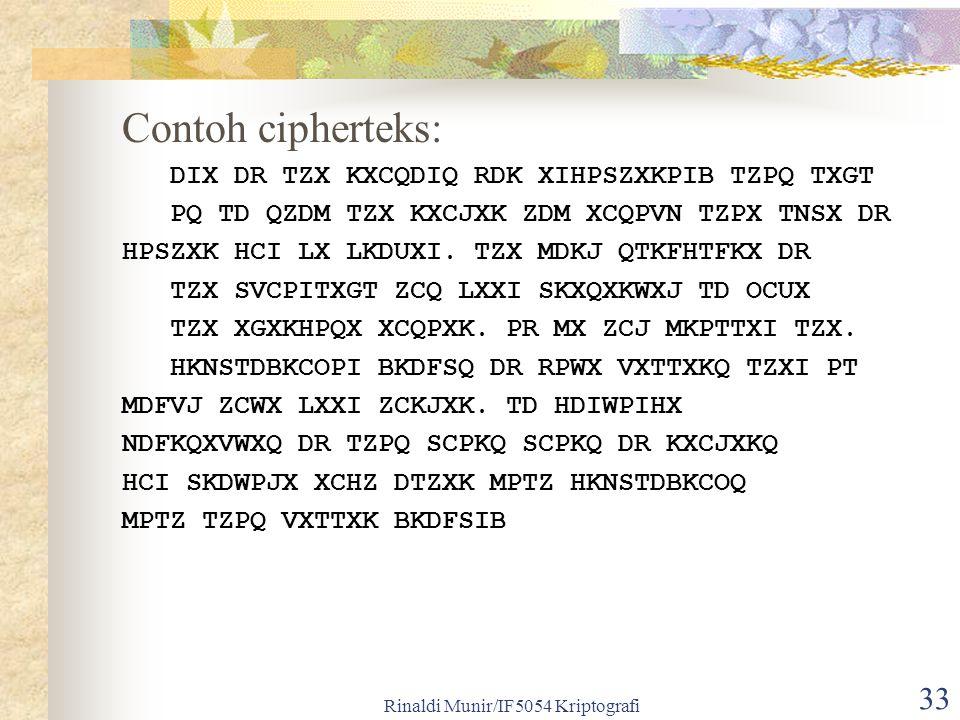 Rinaldi Munir/IF5054 Kriptografi 33 Contoh cipherteks: DIX DR TZX KXCQDIQ RDK XIHPSZXKPIB TZPQ TXGT PQ TD QZDM TZX KXCJXK ZDM XCQPVN TZPX TNSX DR HPSZ
