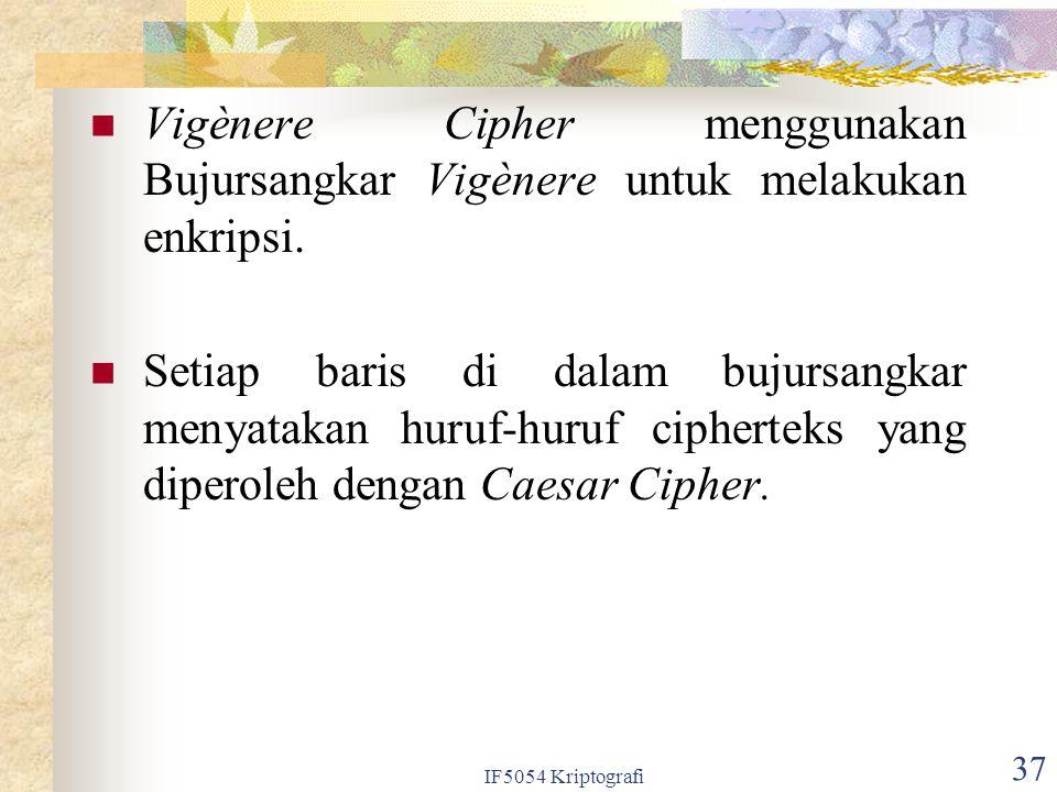 IF5054 Kriptografi 37 Vigènere Cipher menggunakan Bujursangkar Vigènere untuk melakukan enkripsi. Setiap baris di dalam bujursangkar menyatakan huruf-