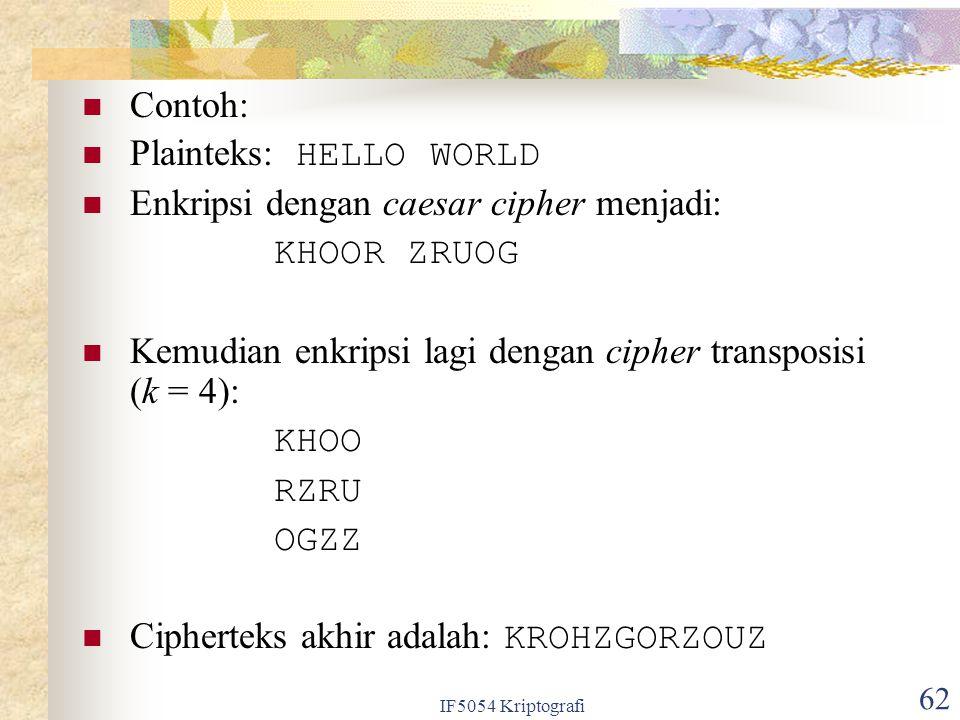 IF5054 Kriptografi 62 Contoh: Plainteks: HELLO WORLD Enkripsi dengan caesar cipher menjadi: KHOOR ZRUOG Kemudian enkripsi lagi dengan cipher transposi