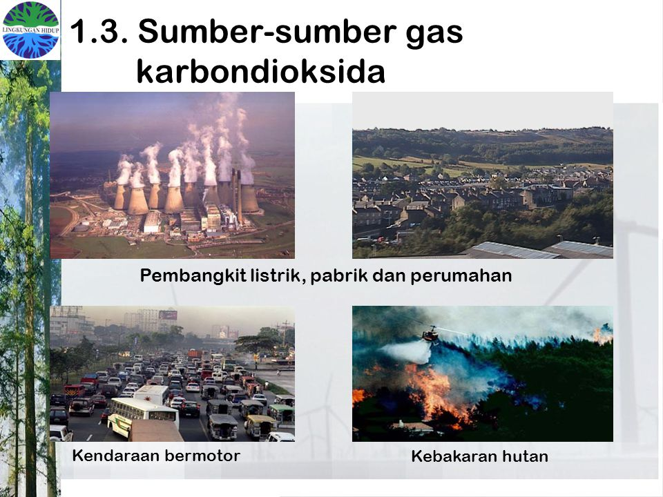 1.3. Sumber-sumber gas karbondioksida Pembangkit listrik, pabrik dan perumahan Kendaraan bermotor Kebakaran hutan