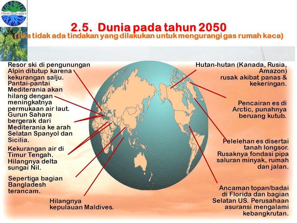 2.5. Dunia pada tahun 2050 (jika tidak ada tindakan yang dilakukan untuk mengurangi gas rumah kaca) Gurun Sahara bergerak dari Mediterania ke arah Sel