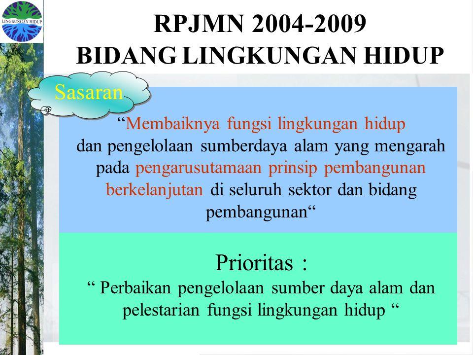 RPJMN 2004-2009 BIDANG LINGKUNGAN HIDUP Membaiknya fungsi lingkungan hidup dan pengelolaan sumberdaya alam yang mengarah pada pengarusutamaan prinsip pembangunan berkelanjutan di seluruh sektor dan bidang pembangunan Prioritas : Perbaikan pengelolaan sumber daya alam dan pelestarian fungsi lingkungan hidup Sasaran
