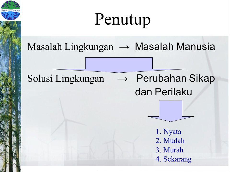 Penutup Masalah Lingkungan → Masalah Manusia Solusi Lingkungan → Perubahan Sikap dan Perilaku 1. Nyata 2. Mudah 3. Murah 4. Sekarang