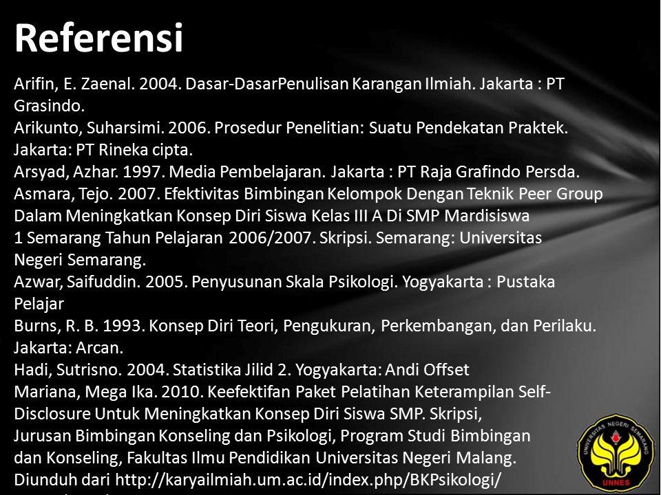 Referensi Arifin, E. Zaenal. 2004. Dasar-DasarPenulisan Karangan Ilmiah. Jakarta : PT Grasindo. Arikunto, Suharsimi. 2006. Prosedur Penelitian: Suatu