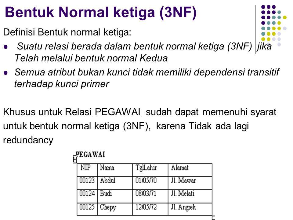 Bentuk Normal ketiga (3NF) Definisi Bentuk normal ketiga: Suatu relasi berada dalam bentuk normal ketiga (3NF) jika Telah melalui bentuk normal Kedua