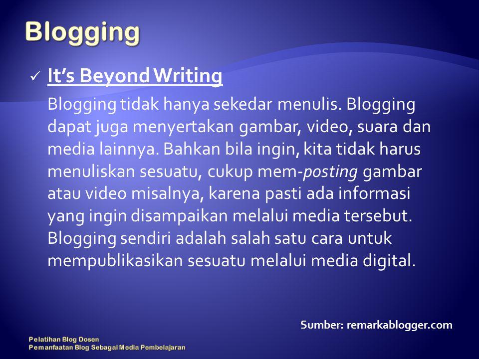 It's Beyond Writing Blogging tidak hanya sekedar menulis.