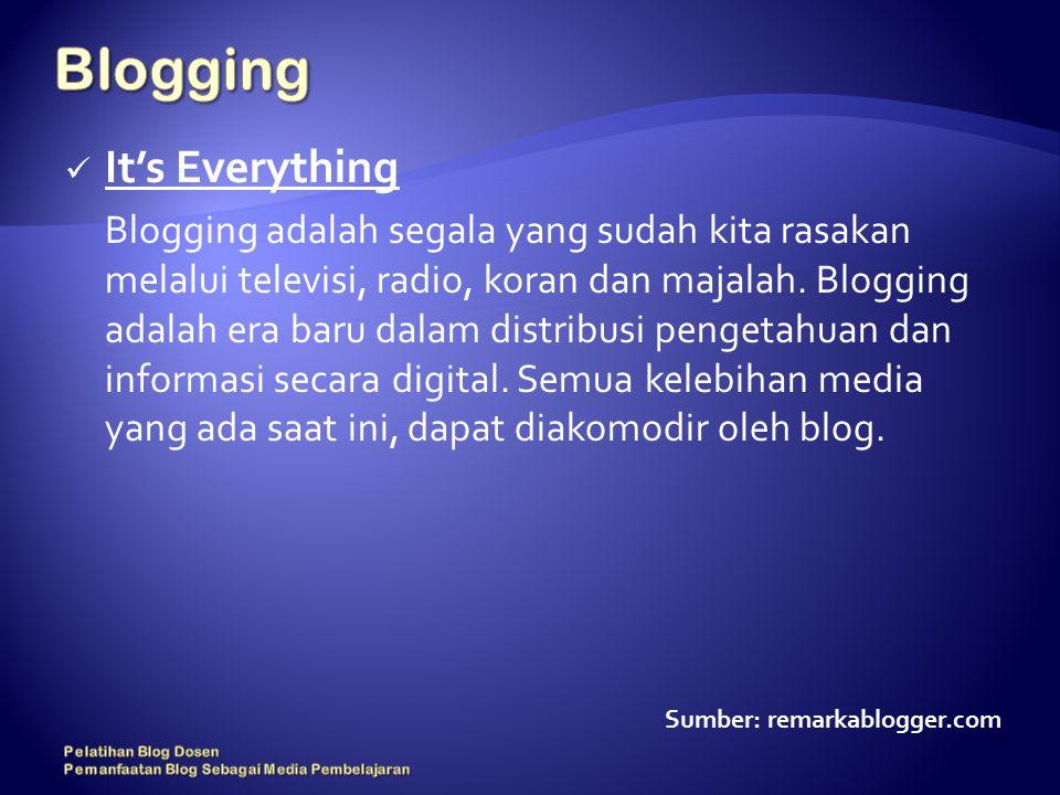 It's Everything Blogging adalah segala yang sudah kita rasakan melalui televisi, radio, koran dan majalah.