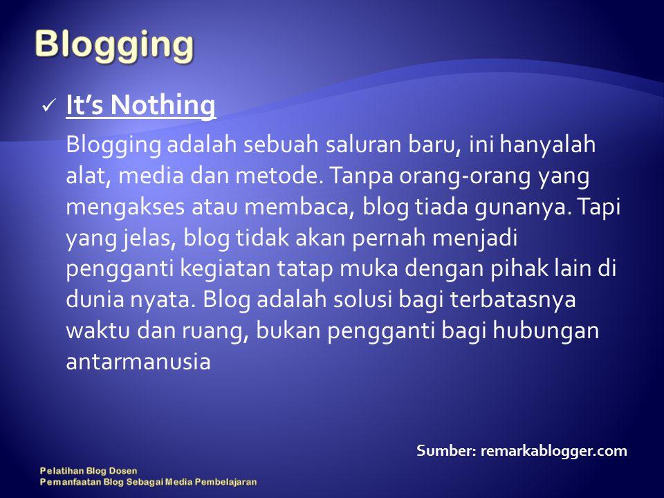 It's Nothing Blogging adalah sebuah saluran baru, ini hanyalah alat, media dan metode.
