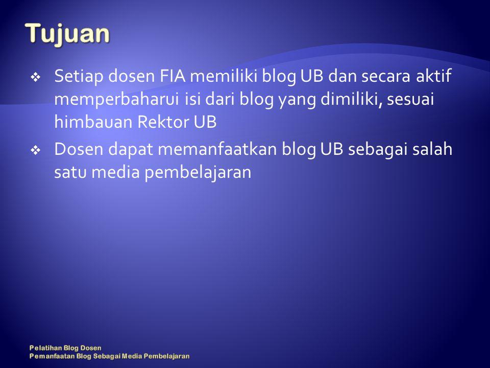  Setiap dosen FIA memiliki blog UB dan secara aktif memperbaharui isi dari blog yang dimiliki, sesuai himbauan Rektor UB  Dosen dapat memanfaatkan blog UB sebagai salah satu media pembelajaran