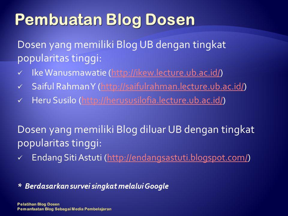 Dosen yang memiliki Blog UB dengan tingkat popularitas tinggi: Ike Wanusmawatie (http://ikew.lecture.ub.ac.id/)http://ikew.lecture.ub.ac.id/ Saiful Rahman Y (http://saifulrahman.lecture.ub.ac.id/)http://saifulrahman.lecture.ub.ac.id/ Heru Susilo (http://herususilofia.lecture.ub.ac.id/)http://herususilofia.lecture.ub.ac.id/ Dosen yang memiliki Blog diluar UB dengan tingkat popularitas tinggi: Endang Siti Astuti (http://endangsastuti.blogspot.com/)http://endangsastuti.blogspot.com/ * Berdasarkan survei singkat melalui Google