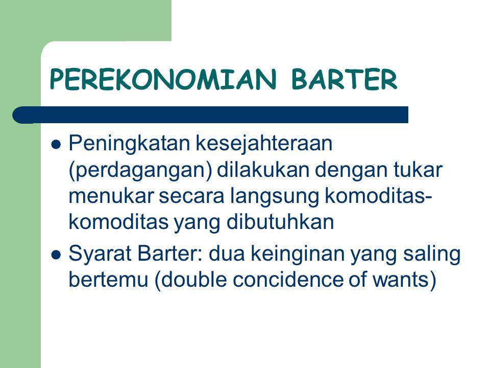 PEREKONOMIAN BARTER Peningkatan kesejahteraan (perdagangan) dilakukan dengan tukar menukar secara langsung komoditas- komoditas yang dibutuhkan Syarat Barter: dua keinginan yang saling bertemu (double concidence of wants)
