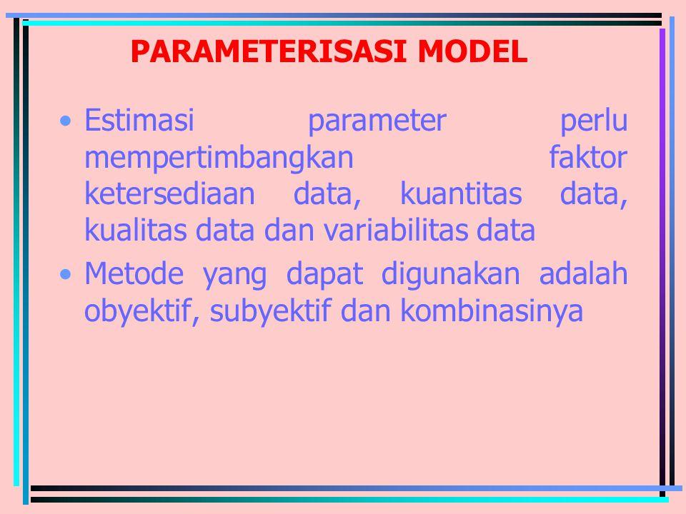 PARAMETERISASI MODEL Estimasi parameter perlu mempertimbangkan faktor ketersediaan data, kuantitas data, kualitas data dan variabilitas data Metode ya
