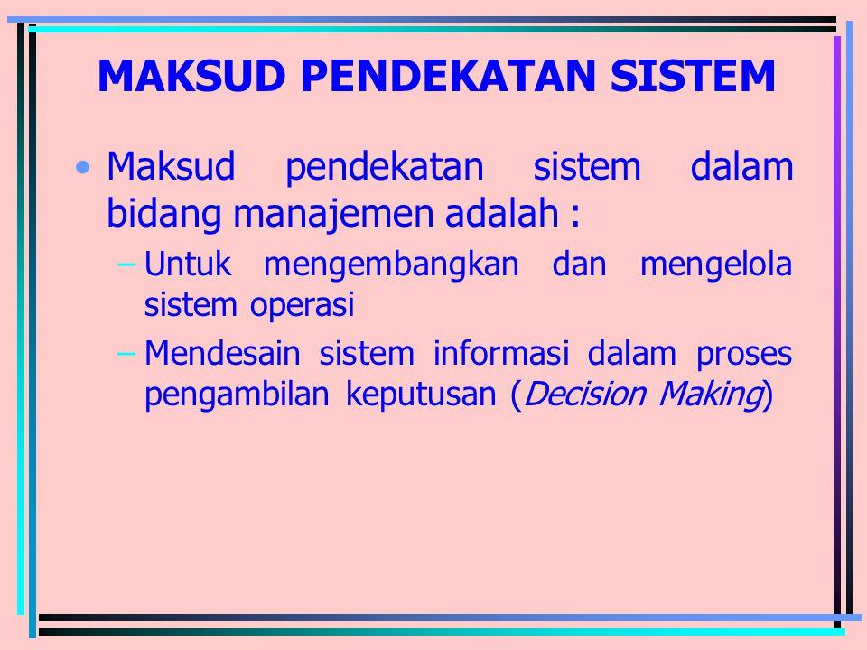 MAKSUD PENDEKATAN SISTEM Maksud pendekatan sistem dalam bidang manajemen adalah : –Untuk mengembangkan dan mengelola sistem operasi –Mendesain sistem