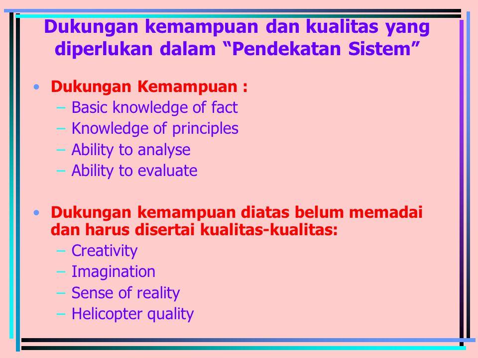 """Dukungan kemampuan dan kualitas yang diperlukan dalam """"Pendekatan Sistem"""" Dukungan Kemampuan : –Basic knowledge of fact –Knowledge of principles –Abil"""