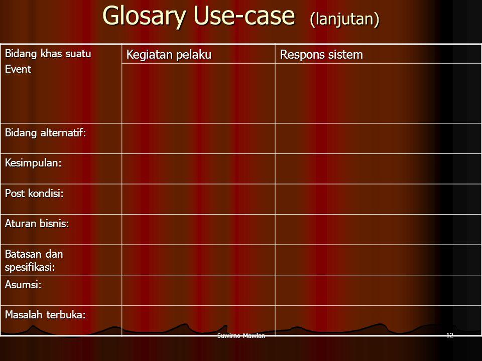 Suwirno Mawlan 12 Glosary Use-case (lanjutan) Bidang khas suatu Event Kegiatan pelaku Respons sistem Bidang alternatif: Kesimpulan: Post kondisi: Atur