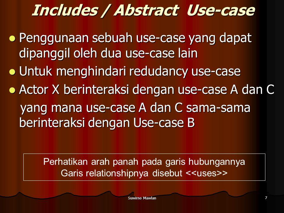 Suwirno Mawlan 7 Includes / Abstract Use-case Penggunaan sebuah use-case yang dapat dipanggil oleh dua use-case lain Penggunaan sebuah use-case yang d
