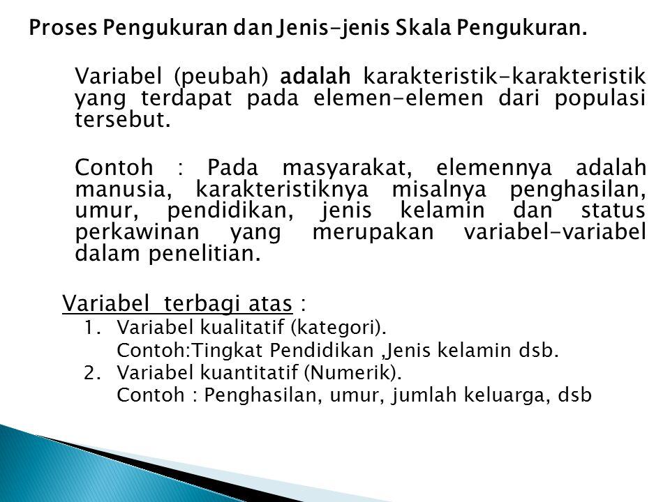Proses Pengukuran dan Jenis-jenis Skala Pengukuran. Variabel (peubah) adalah karakteristik-karakteristik yang terdapat pada elemen-elemen dari populas