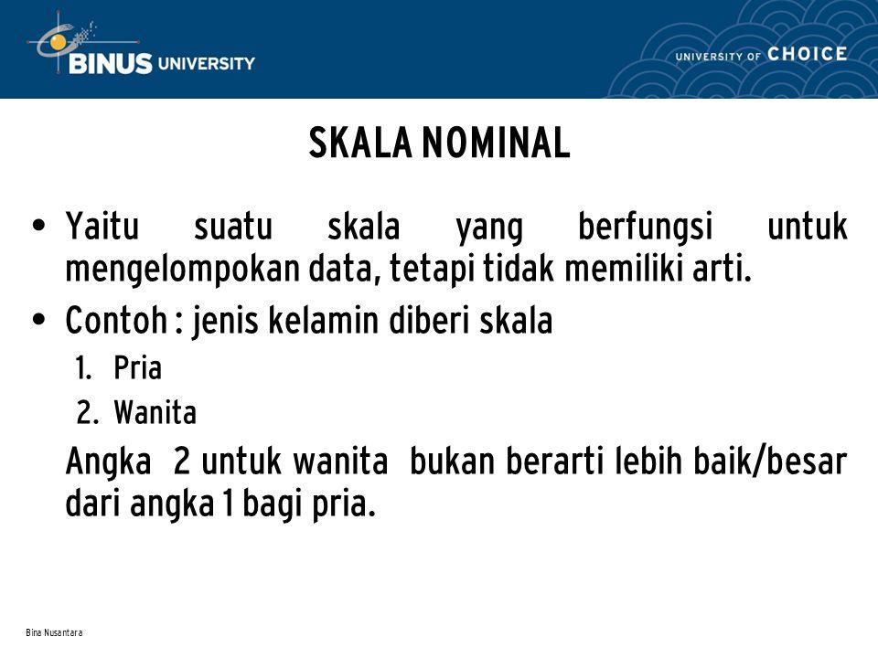 Bina Nusantara SKALA INTERVAL Yaitu skala yang memiliki nilai dengan jarak sama.