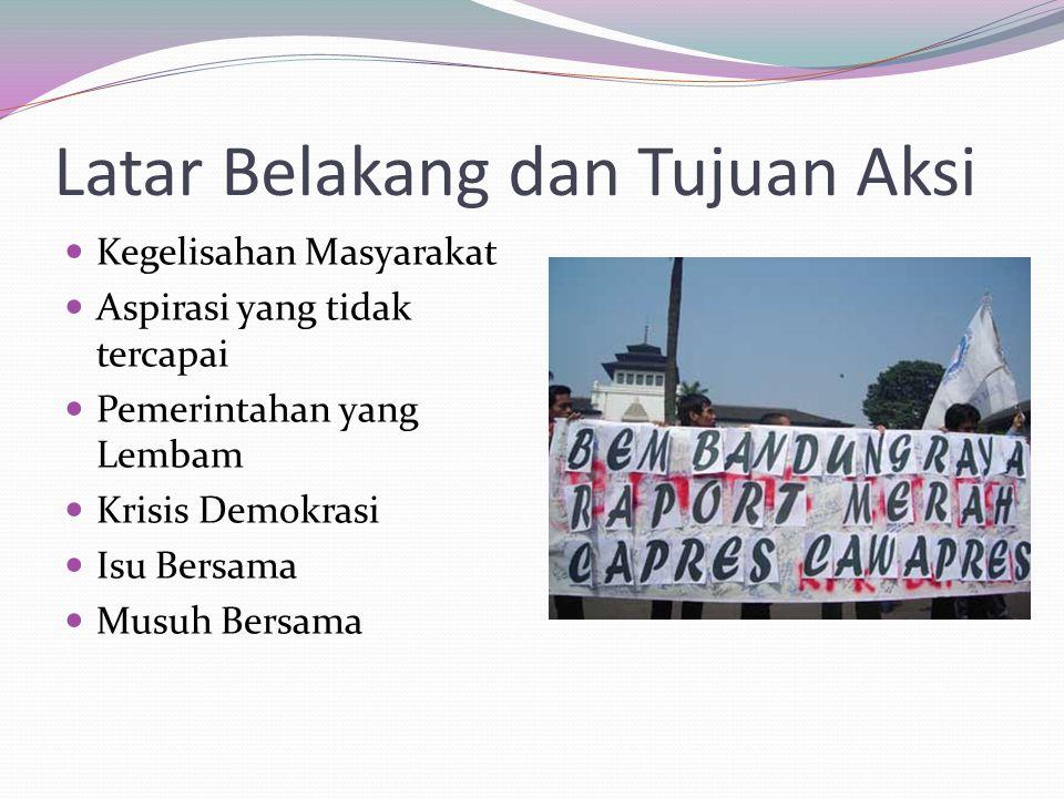Kegelisahan Masyarakat Aspirasi yang tidak tercapai Pemerintahan yang Lembam Krisis Demokrasi Isu Bersama Musuh Bersama