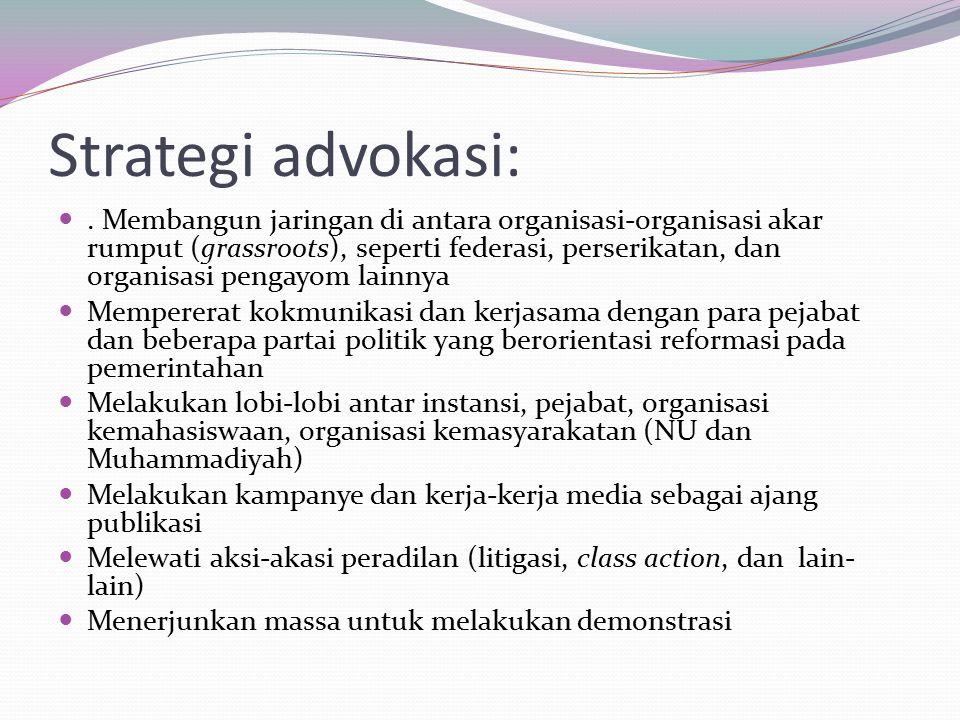 Strategi advokasi:.