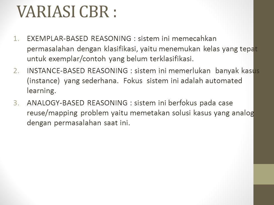 VARIASI CBR : 1.EXEMPLAR-BASED REASONING : sistem ini memecahkan permasalahan dengan klasifikasi, yaitu menemukan kelas yang tepat untuk exemplar/cont