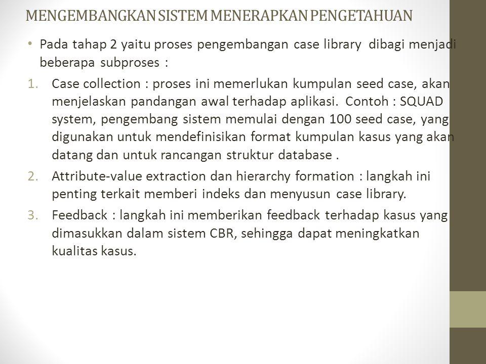 MENGEMBANGKAN SISTEM MENERAPKAN PENGETAHUAN Pada tahap 2 yaitu proses pengembangan case library dibagi menjadi beberapa subproses : 1.Case collection