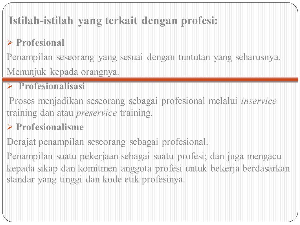 Istilah-istilah yang terkait dengan profesi:  Profesional Penampilan seseorang yang sesuai dengan tuntutan yang seharusnya. Menunjuk kepada orangnya.